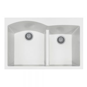 SiOStone Topmount 60/40 Double Bowl (SiO-3322DATR-WH)